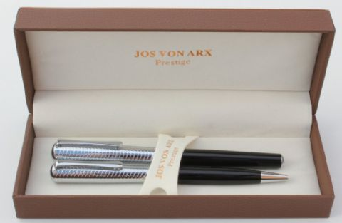 Jos Von Arx Prestige WR13 Ballpoint and Rollerball Wave Black Lacquer Pen Set